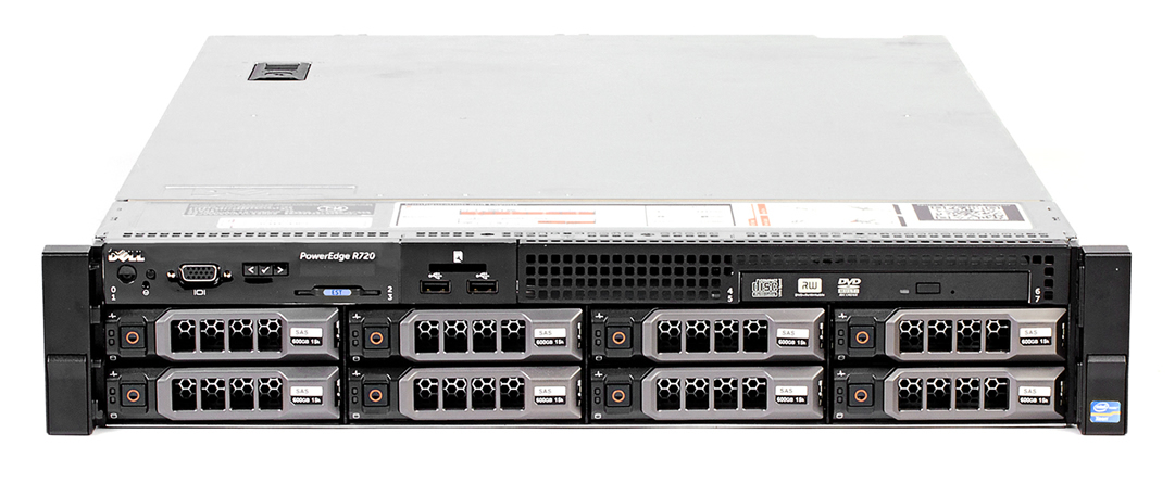 "Подробное фото Сервер DELL PowerEdge R720 2*Xeon E5-2690v2 128Gb 10600R DDR3 8x noHDD 3.5"" SAS RAID Perc H710 mini, 512Mb, DVD, 2*PSU 750W"